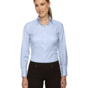 Ladies' Wrinkle-Free Two-Ply 80's Cotton Taped Stripe Jacquard Shirt Thumbnail