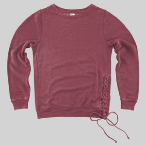 Enzyme Washed Women's Rally Lace-up Crewneck Thumbnail